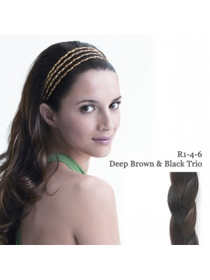Great Lenghts POP THE 4 BRAID BAND Deep brown/black Trio